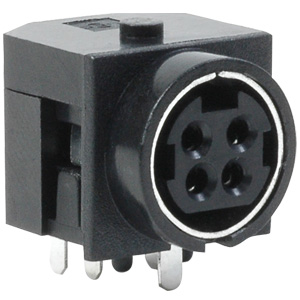 201-0000 4 Pin Power DIN Snap-Lock Connector Socket, PCB Right Angle 90°, Through-Hole Termination, 7.5A Current Rating, UL94V-0