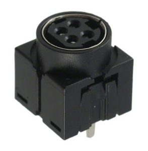201-0005 4 Pin Power DIN Snap-Lock Connector Socket, PCB Vertical, Through-Hole Termination, 7.5A Current Rating, UL94V-0
