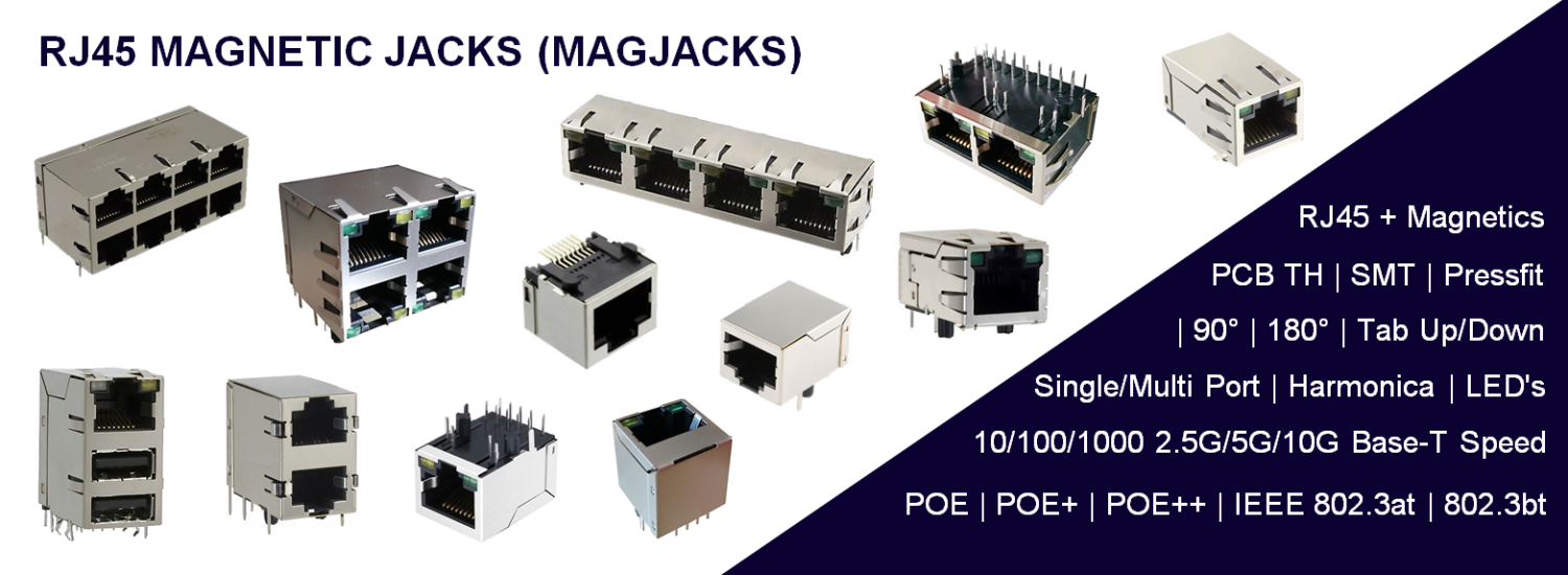 RJ45 with Magnetics, MagJacks, Gigabit, 2.5G, 5G, 10G POE, POE+