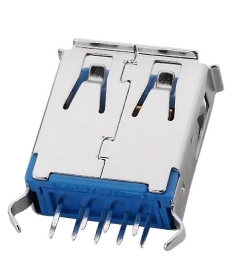 605-0001 USB 3.0 Connector, Type A Receptacle, Vertical, Single Port, Through-Hole, UL94V-0