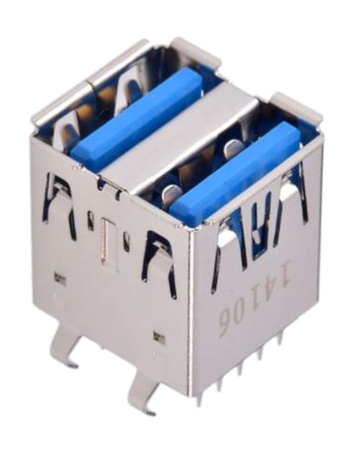 605-0002 USB 3.0 Connector, Type A Receptacle, Dual Port, Vertical Through-Hole UL94V-0