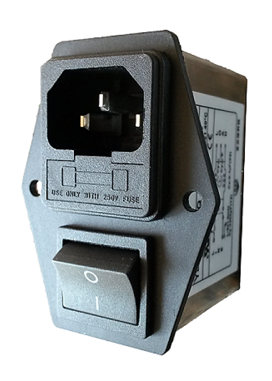 704-0003 Power Entry Module C14 IEC Inlet + Fuse + Switch, Pnl Mnt