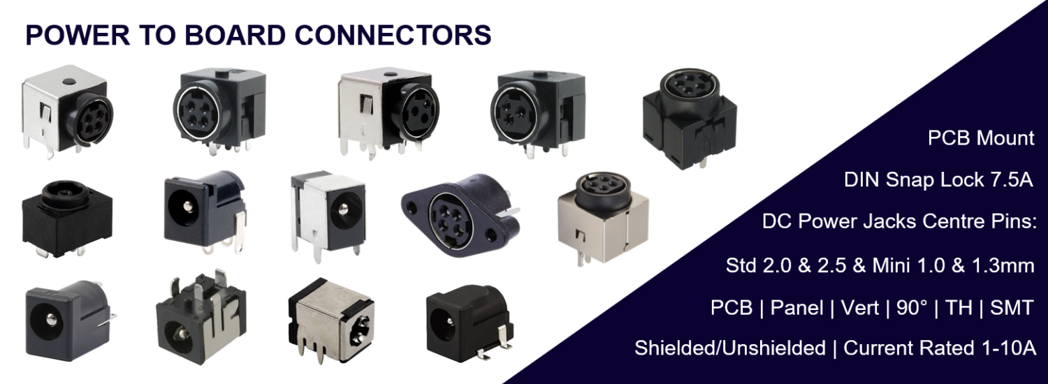 Power to Board Connectors, DIN Snap & Lock, DC Power